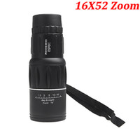 Cheap Wholesale-2014 New Compact 16X52 Zoom Sports Monocular Telescope Spotting Scope for Outdoor Traveling Hiking Camping Black