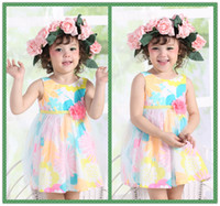 Wholesale 2014 Fashion Kids Wear Beige A Line Dress Gauze Fabric Summer Dresses Children Clothing Cheap and High Quality baby Clothes