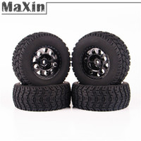 Cheap 4 pcs 1:10 RC Short Course Truck Tires Set Rubber Tyre Wheel Rim Hub Hex Mounted For TRAXXAS SLASH HPI