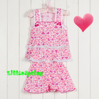 Cheap Wholesale-Adorable baby girls summer clothing sets, girl cute chothes set, children kids wear baby cake outfit suit Little Spring