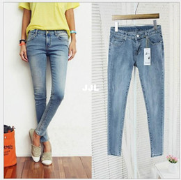 Wholesale Autumn Spring New Style Zipper Fly Denim Slim Skinny Womens Jeans Pencil Pants True Blue autumn pants