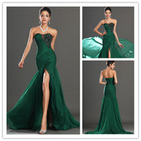2015 Dark Green Strapless Party Dresses Ruffle Chiffon Prom ...