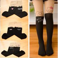 Wholesale spring and summer children girl velvet pantyhose false middle tube joint little devil little cat pantynose socks