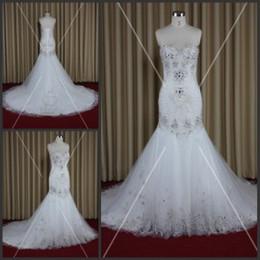 2015 Robes de mariée sirène avec des strass Sweetheart Lace-up Moussant robes d'engagement Real Image Robes de mariée de luxe avec des cristaux à partir de mariage strass robe de cristal fabricateur