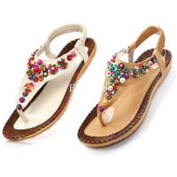 Wholesale Ladies Flat Toe Post Shoes Womens Flip Flops Boho Sandals Summer Beach ex57