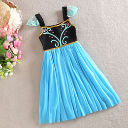 Wholesale New Frozen Dress Girls Summer Clothing Y Y Children Princess Anna Lace Short Sleeve Party Dresses Costume Cosplay Dress In Stock