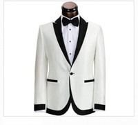 2014 New Custom Made Ivory With Black Collar Groom Tuxedos M...