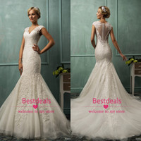 2015 Amelia Sposa Cap Sleeves Lace Mermaid Wedding Dresses A...