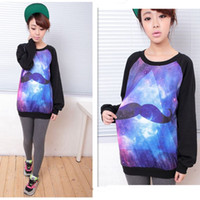 Cheap Wholeasle Casual Womens Galaxy Mustache Space Graphic Print Loose T-shirts Long Sleeve Tops Oversized Tee Blouse