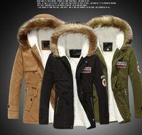 fur collar coat men - Winter Casual Canada Mens fur collar coat army green outwear coats military man jackets men winter jacket men coat Parka Coats
