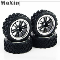 Cheap 1 Set 1 10 HPI Rally Racing Off Road RC Car Rubber Tires Tyre Electroplated Lacquered Wheel Hub Rim PP0123+PP0487