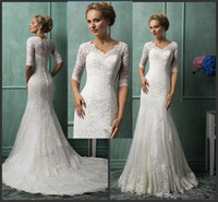 2015 New Turkey Style Church Lace Wedding Dresses V Neck Hal...