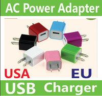 Wholesale 10xpcs AC Power Adapter US Plug USB Wall Travel Charger US EU Adapter for Samsung Galaxy Cellphones Multi color AAAAA