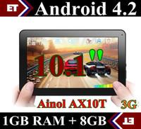 DHL 5PCS Ainol AX10T Numy 3G AX10 Llamada de Teléfono de la pc de la Tableta de 10 pulgadas MTK8312 de Doble Núcleo, 1GB 8GB Android 4.2 Cámara WCDMA GSM GPS Bluetooth TA11