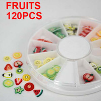 Cheap 120PCS 3D Mixed Fimo Clay Nail Art Tips Slice Acrylic Decoration Manicure Wheel Fruit series about 10pcs per style Free Shipping