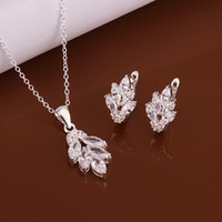 Wholesale Hot factory direct silver jewelry fashion jewelry exquisite modern woman leaves inlaid stone necklace ear sets S619