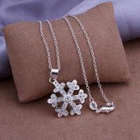 Wholesale Hot CJH factory silver jewelry fashion jewelry for women beautifully modern snowflake pendant necklace inlaid stone P303