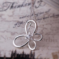 Wholesale Hot silver jewelry fashion jewelry inlaid female modern exquisite solitaire empty butterfly pendant necklace N343