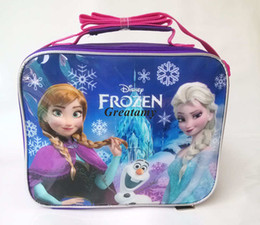 Wholesale New frozen kids lunch bags styles Elsa anna snow olaf printed children snack bags girls food packages good quality handbags