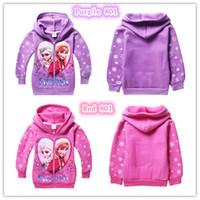 Wholesale Girls Frozen Elsa Anna cotton fleece sweatshirts winter Cloth Jacket Girl s hoodies Y Y terry hooded outerwear coats children zipper coat