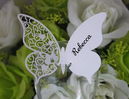 Wholesale 100pcs Butterfly Place Name Card Cup Paper Card Table Mark Wine Glass Wedding Favors Party Decor