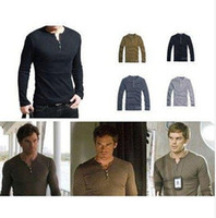 dexter - Mens Shirt Showtime Dexter Kill Shirt Henley Long Sleeve Slim Tee Army Black