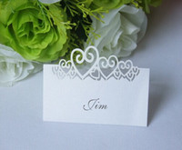 angels cut - 100 Laser Cut Hollow Love Hearts Paper Table Card Number Name Card Place Card For Party Wedding Decorate