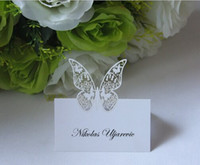 Wholesale 100x Butterfly Table Card Laser Cut Paper Place Card Guest Name Holder Wedding Party Feast Favors