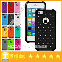Wholesale iPhone Hybrid Robot Case Rhinestone Rugged Rubber Bling Crystal Hard Case Cover For iPhone G Air iPhone6 Cell Phone Case Colorful