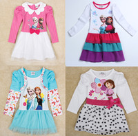 Wholesale Frozen Clothing Elsa Anna Character Print Baby Girl Dress Polka Dot Child Dresses Baby princess led the wave point child dress