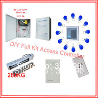Wholesale Free ship access control kit keypad EM access control power kg magnetic lock ZL bracket button em key fob