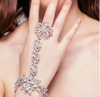 wedding jewelry - New Design Luxurious Czech Silver Flower Rhinestone Bridal Bracelets with Ring Wedding Jewelry Wedding Accessoies