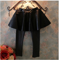Cheap 2014 Autumn New Arrival Fashion Leather Girls Leggings Baby Girls Wire Sides Skirts Leggings