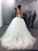 ballgown wedding dresses - 2014 Custom Made Tulle Big Poofy Ball Gown Wedding Dresses Crystal Beads Applique vestidos de novia Backless Ballgown dress Chapel train