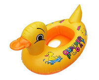 Cheap Baby Kids Swimming Swim Yellow Rhubarb Duck Trainer Seat Inflatable Boat Ring Pool