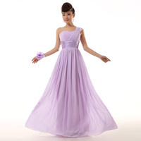 light blue wedding dress - 2015 new Bridesmaid Dresses wedding One shoulder lace up Prom Maxi Dress chiffon color royal blue light purple pink red green white Lavender