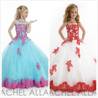 Cheap 2015 Little Girl's Pageant Dresses Ball Gown Applique Blue Grew Neck Tulle Beaded Crystal Top Princess Flower Girl Dresses