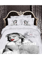 Cheap New 2014 Marilyn Monroe Luxury 3D 4pcs Bedding Set Bed linen Duvet or Quilt Cover Bedclothes Full Queen King Size ,Free Shipping