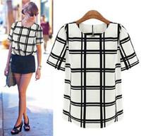 Cheap 2014 Fashion European Style T-shirt Chiffon Black White Plaid Casual Tops Women Clothing Puff Sleeve S-XL Free Shipping T45025