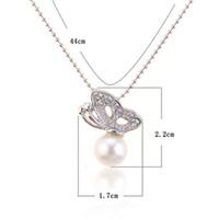 Wholesale 2014 NEW fashion Butterfly With Faux Pearl Rhinestone Pendant Necklaces jewelry