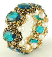 Wholesale 6pcs fashion women Bracelets Vintage palace Elastic rope with pearls crystal Bracelets B0060
