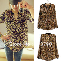 Cheap Spring Clothes Hot Sale Sexy Women Casual Wild Leopard Shirt Long-sleeved Top Blouse S M L for Choice Free Shipping 1pcs lot