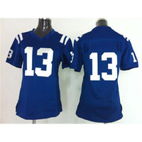 Cheap 2014 New Style Womens Football Jerseys#13 T.Y. Hilton Blue Game American Football Jerseys Cheap Top Quality Football Uniforms Mix Order