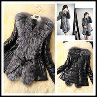 Women women black short leather jacket - New Fashion Women Faux Leather Jackets Motocycle Short Black Fur Jackets Long Sleeve Faux Fur Collar Short Coats Warm Coats
