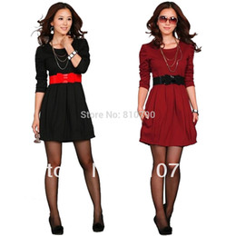 Wholesale Elegant Women s Mini Dress Sheath Slim Empire Ball Gown Dress With Belt Casual Dresses Party Club Cocktail