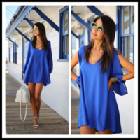 Cheap 2014 New Street Style Fashion Dresses Lantern Sleeve V-neck Loosen Beach Party Dresses Short Hollow Out Sexy Chiffon Dresses