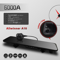 Cheap car dvr 6000A Car Rearview Mirror Camera Recorder DVR Dual Lens 4.3' TFT LCD HD 1920x1080p Rear view camera 720P with GPS G-sensor