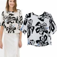 Cheap blasas femininas 2014 Women Blouse European Style Vintage Ink Painting Print O-neck Tops Short Pullover Women Clothing T46016