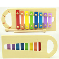 Wholesale Children s musical toy wooden frame steel bar octaves eight tones xylophone hand knock harp for Exporting Model