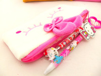 Cheap 10pcs lot New Fashion Hot Sale Simple Soft Cotton hello kitty Pencil Pen Case Free Shipping